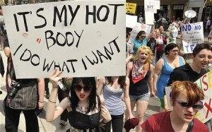 A protestor with a sign at the USM Slutwalk in Portland, Maine.